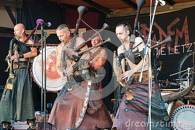 Musicians stylized as the Goths performing on the Heidelberg folk festival and playing bagpipes rock - September 25 2016 Editorial Stock Photo