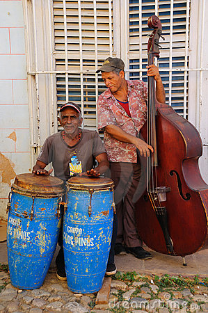 Musicians in Trinidad street, cuba. October 2008 Editorial Stock Image