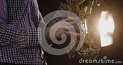 Musicien de jazz jouant le saxophone banque de vidéos