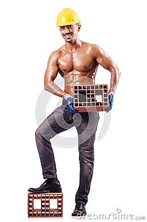 Muskulös byggmästare