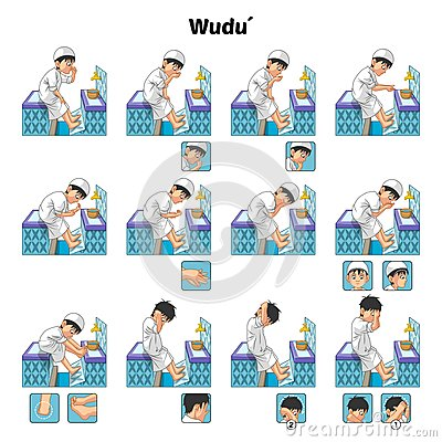 Free Muslim Ablution Or Purification Ritual Guide Step By Step Using Water Perform By Boy Stock Photos - 69925833