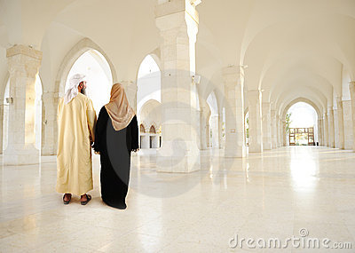 Muslim arabic couple inside modern building