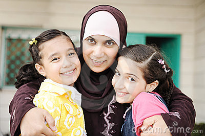 Muslim arabic mother with two daughters