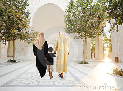 Muslim arabic traditional oriental family