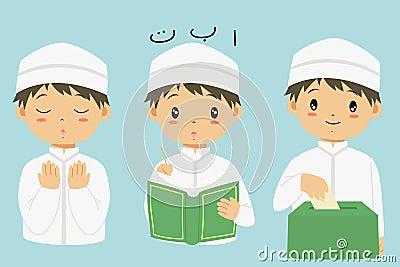 Muslim Boy Cartoon Vector Collection Vector Illustration