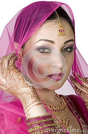 Muslim Bride Holding the Veil