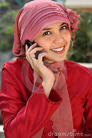 Muslim Business Woman on Phone