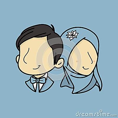 Muslim Couple illusstration Vector Illustration