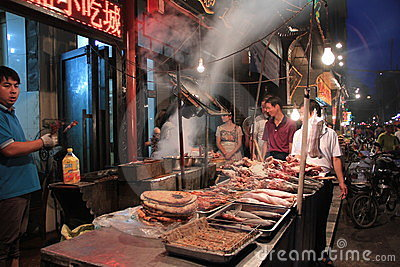 Muslim food Street(Huimin Jie), Xi an,China Editorial Image
