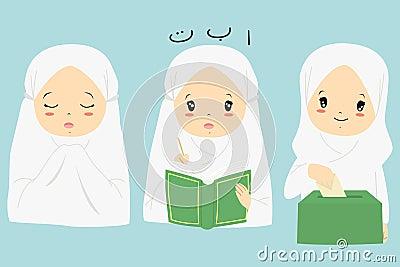 Muslim Girl Cartoon Vector Collection Vector Illustration