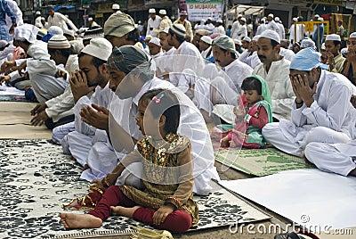 A Muslim Girl at Eid prayer Editorial Stock Photo