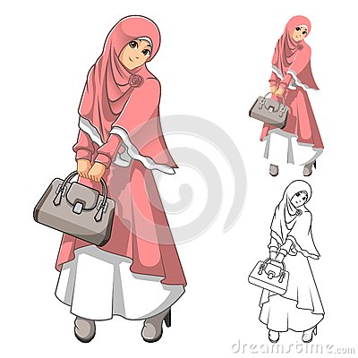 Free Muslim Girl Fashion Wearing Green Veil Or Scarf With Yellow Jacket And Boots Royalty Free Stock Images - 64369909