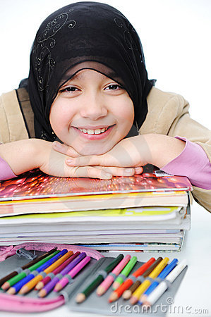 Muslim girl learning