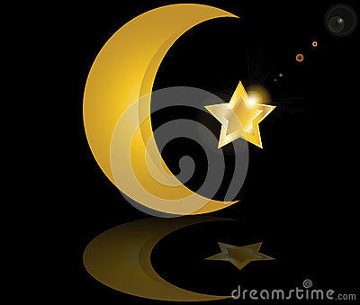 Muslim gold star crescent on black background