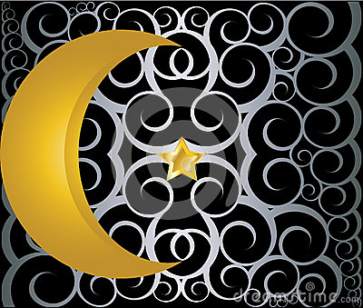 Muslim gold star and crescent on black background