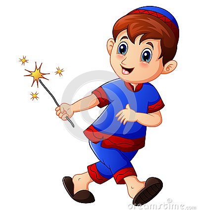 Free Muslim Kid Running With Holding Firework On Month Of Ramadan Stock Image - 93381871