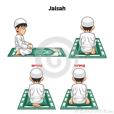 Muslim Prayer Position Guide Step by Step Perform by Boy Vector Illustration