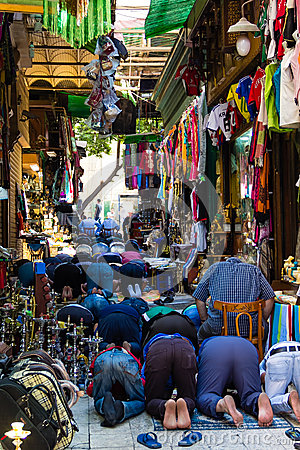 Muslim Praying at Khan el-Khalili  Bazaar, Cairo in Egypt Editorial Photography