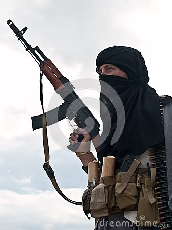 Free Muslim Rebel With AK Assault Rifle Royalty Free Stock Photo - 28452705