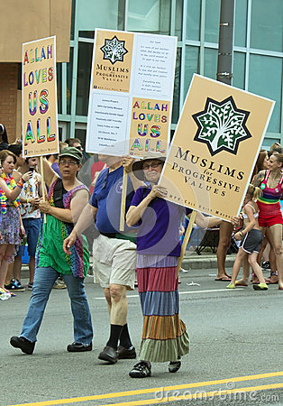 Free Muslim Support For Gay Rights In Columbus Gay PRIDE Parade Royalty Free Stock Photography - 31861707