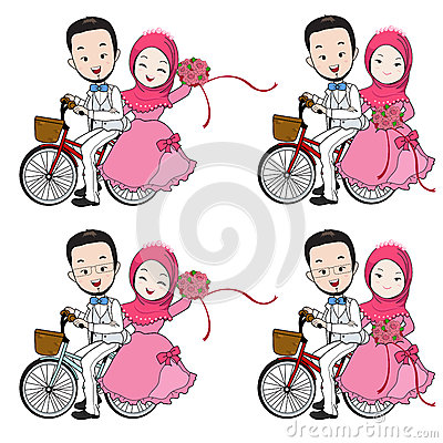Muslim wedding cartoon, bride and groom riding bicycle with flow Vector Illustration