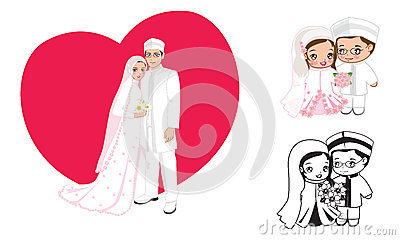 how to draw muslim mom in pink dress cartoons