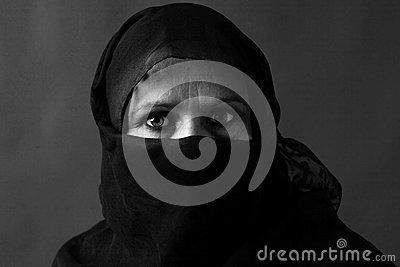 Muslim woman black and white
