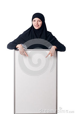 Muslim woman with blank board