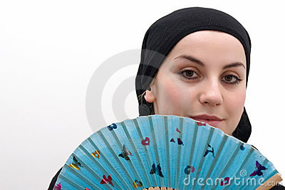 Muslim woman with fan