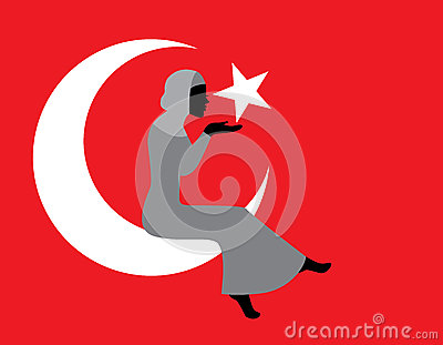 Muslim woman with a Turkish flag