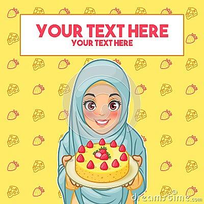 Free Muslim Woman Holding A Plate Of Dessert Stock Photos - 112538593