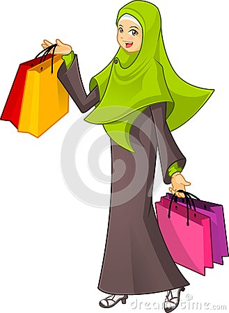 Free Muslim Woman Holding A Shopping Bag Wearing Green Veil Stock Image - 56390311