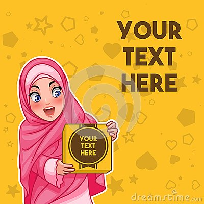 Muslim woman holding a box with text space vector illustration Vector Illustration