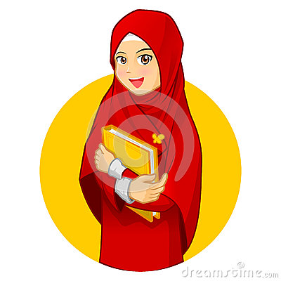 Muslim Woman with Hugging a Book Wearing Red Veil Vector Illustration