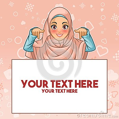 Muslim woman pointing finger down at copy space Vector Illustration