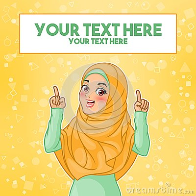 Muslim woman pointing finger up at copy space Vector Illustration