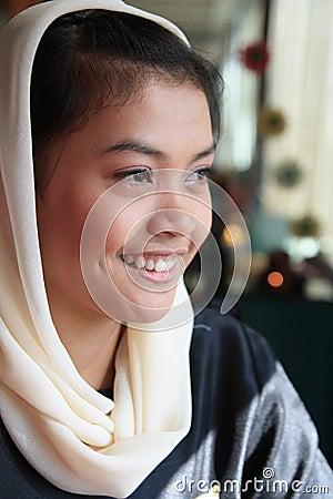 Muslim woman smiling