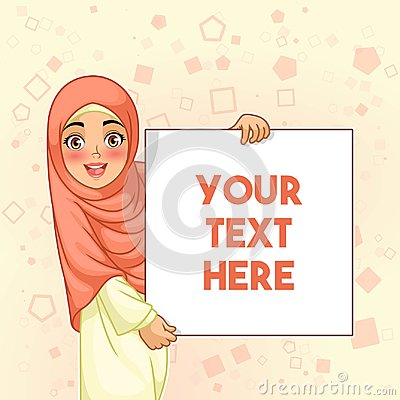 Free Muslim Woman Smiling Holding Blank Board Royalty Free Stock Photography - 109710117