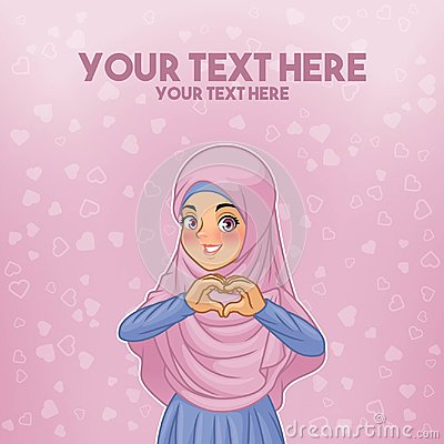 Muslim woman wearing hijab making heart shape with her hands Vector Illustration