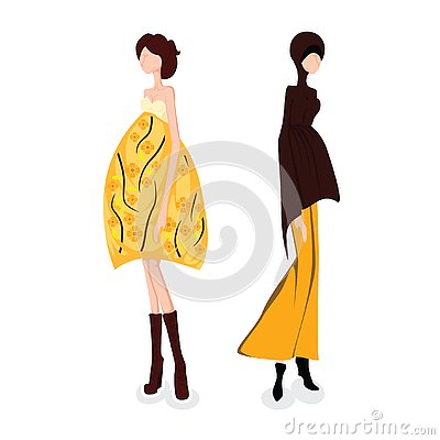 Muslim woman wearing hijab veil presenting text space cartoon character design, against yellow background, vector Vector Illustration