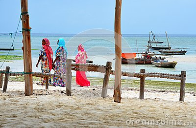 Muslim women in beautiful colorful dresses Editorial Stock Photo