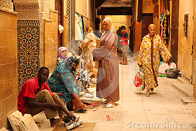 Muslim women in the medina Editorial Image