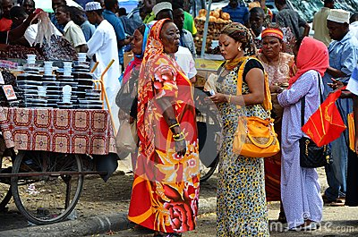 Muslim women shopping in busy market Editorial Photo