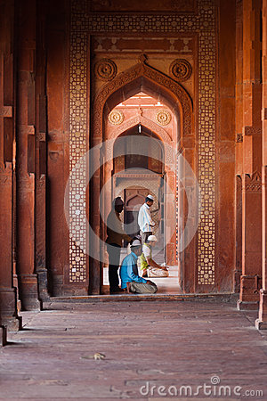 Muslims Praying Fatephur Sikri Mosque Columns Editorial Photography