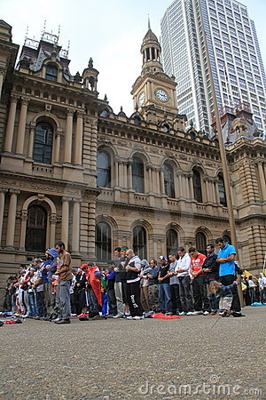 Muslims praying in Sydney Editorial Stock Photo