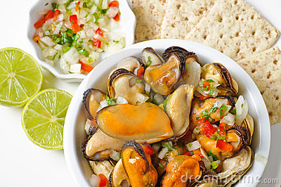 Mussels with onions