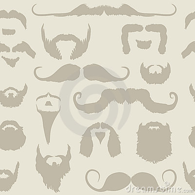 Mustache and beard set seamless pattern