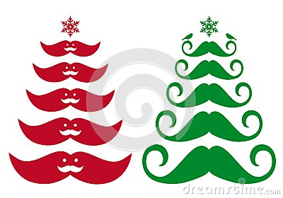 Mustache Christmas tree, vector