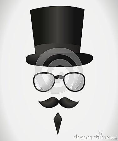 Mustache hat glasses