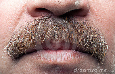 Mustaches and closed mouth of mature caucasian man